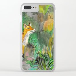 fox on a green meadow Clear iPhone Case