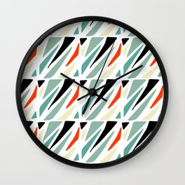 Abstract geometrical black red green triangles modern pattern Wall Clock