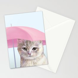 cat with umbrella for no reason Stationery Cards