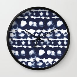 Dye Dot Stripe Indigo Wall Clock