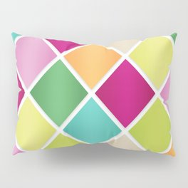Modern Diamond Geometric Pattern Design // Pink Orange Green Blue Pillow Sham