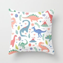 Dinos + Volcanoes - Coral Throw Pillow