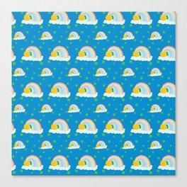 Lucky Rainbow Clover Pattern Canvas Print