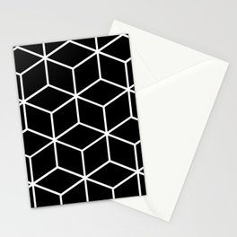 Black and White - Geometric Cube Design II Stationery Cards