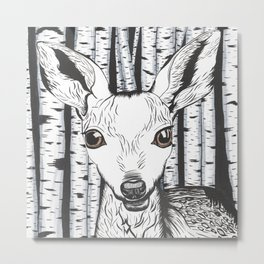 Ink and watercolor black and white doe/deer in the forest Metal Print
