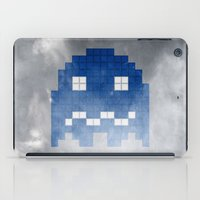 pac man iPad Cases featuring Pac-Man Blue Ghost by Psocy Shop