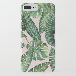 Jungle Leaves, Banana, Monstera Pink #society6 iPhone Case