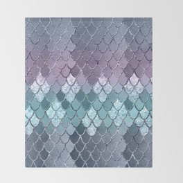 Mermaid Scales Navy Blue Teal Purple Glam #1 #shiny #decor #art #society6 Throw Blanket