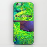 oklahoma iPhone & iPod Skins featuring Oklahoma Map by Roger Wedegis