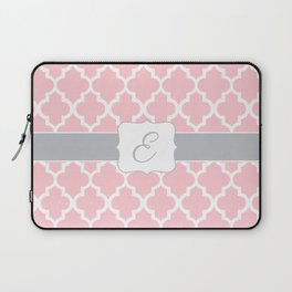 """Baby Pink Geometric Pattern with Silver """"E"""" Monogram Laptop Sleeve"""