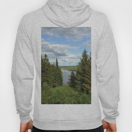 Landscape view on the taiga in Kargort village in Komi Republic of Russia. Hoody