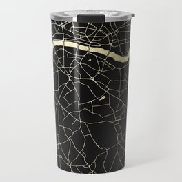 London Black on Gold Street Map Travel Mug
