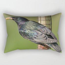 Starling on feeder Rectangular Pillow