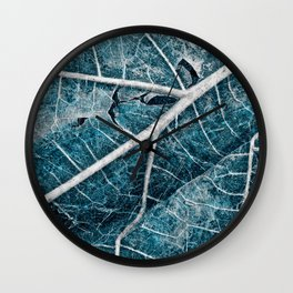 Frozen Winter Leaf Wall Clock