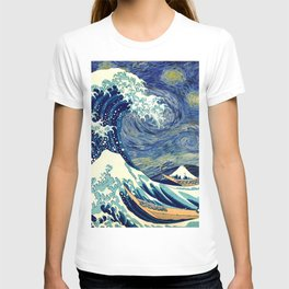 The Great Wave Off Kanagawa Starry Night T-shirt