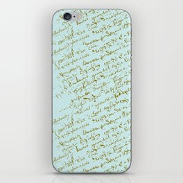 French Script on Paris Blue iPhone Skin