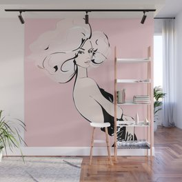 Fashion blonde girl on pink Wall Mural