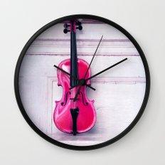pink violin Wall Clock