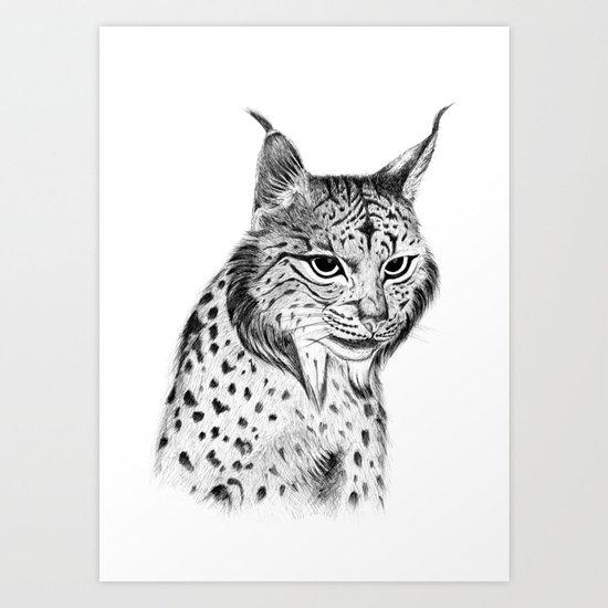 Iberian Lynx B/N Art Print