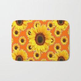 Purple-Orange Patterns Yellow Sunflowers Abstract Art Bath Mat