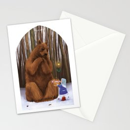 Bear and little girl Stationery Cards