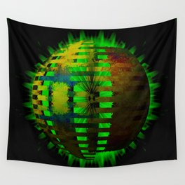 Yellow Layered Star in Green Flames Wall Tapestry