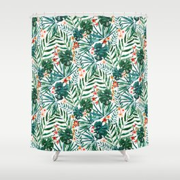 TROP DON'T STOP Tropical Palms and Monstera Shower Curtain