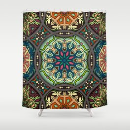 Vintage patchwork with floral mandala elements Shower Curtain