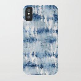Modern hand painted dark blue tie dye batik watercolor iPhone Case