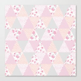 Pink soft flowers triangle quilt pattern print for home decor nursery craft room Canvas Print