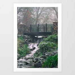 Bridge during light rainfall Art Print