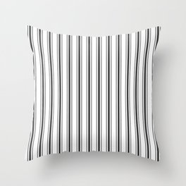 Mattress Ticking Wide Striped Pattern in Dark Black and White Throw Pillow