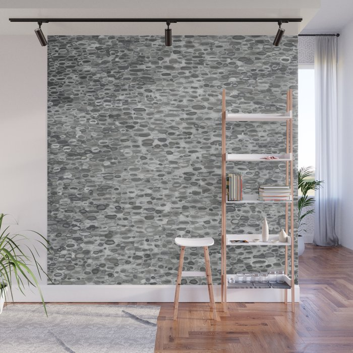Gray Lake Raindrops Wall Mural