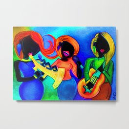 Street musician couple playing on Bourbon Street of New Orleans Metal Print