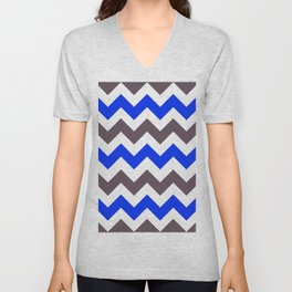 Blue Nebulas and Grey ZigZag Chevron Pattern Unisex V-Neck