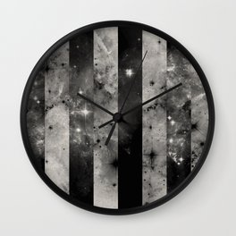 Stripes In Space - Black and white panel effect space scene Wall Clock