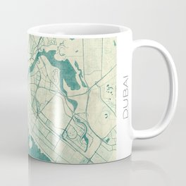 Dubai Map Blue Vintage Coffee Mug