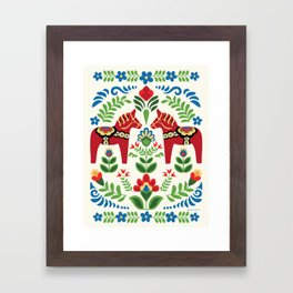 Swedish Dala Horses Red Framed Art Print