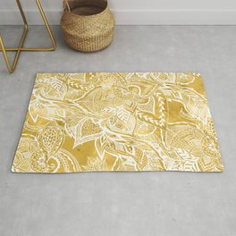 Modern lemon curry watercolor floral hand drawn pattern Rug
