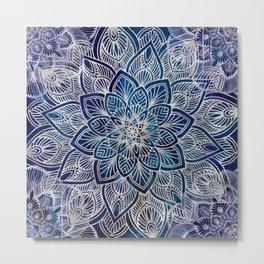 Pearl Mandala on Navy Blue Metal Print