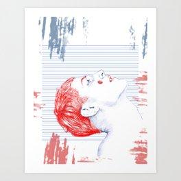 BlueRed Boy Art Print