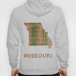 Missouri map outline Brown green blurred watercolor texture Hoody
