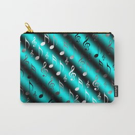 mint,blue,black,music, note, notes, ribbon, symbol, symbol, silver, pattern textile, f Carry-All Pouch