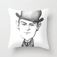 kafka Throw Pillows featuring Kafka by Liliana Ostrovsky