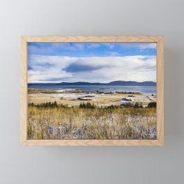 View across Rural Farmlands with Snow and the Sea and Mountains in the Distance in the Golden Circle of Iceland Framed Mini Art Print