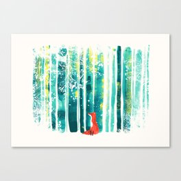 Fox in quiet forest Canvas Print