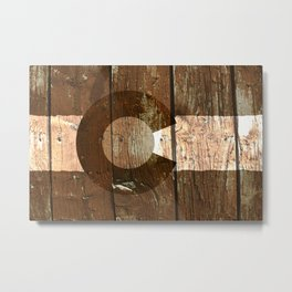 Rustic brown wooden Colorado flag Metal Print