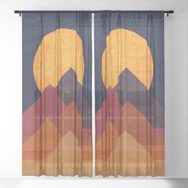 Full moon and pyramid Sheer Curtain