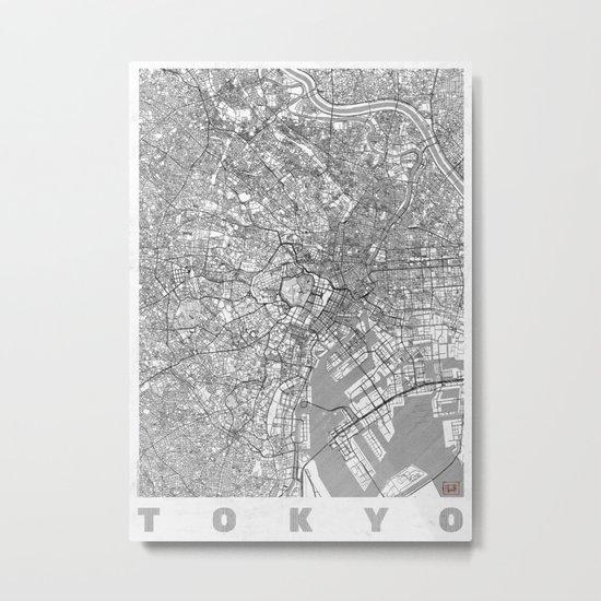 Tokyo Map Line Metal Print