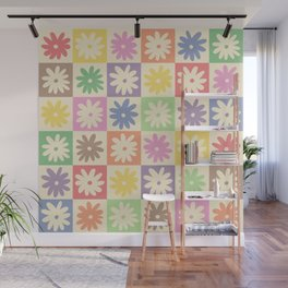 Colorful Flower Checkered Pattern Wall Mural
